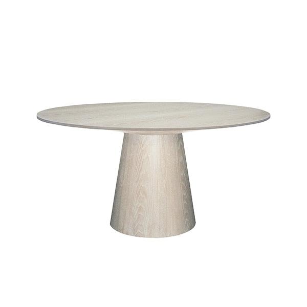 ROUND CERUSED OAK DINING TABLE