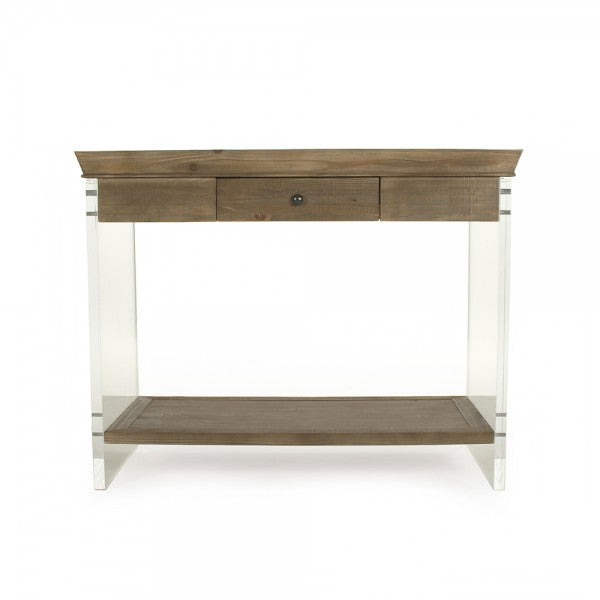 Acrylic and Wood Small or Large Console Storage Table