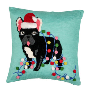 Quirky Pug Christmas Pillow Cover