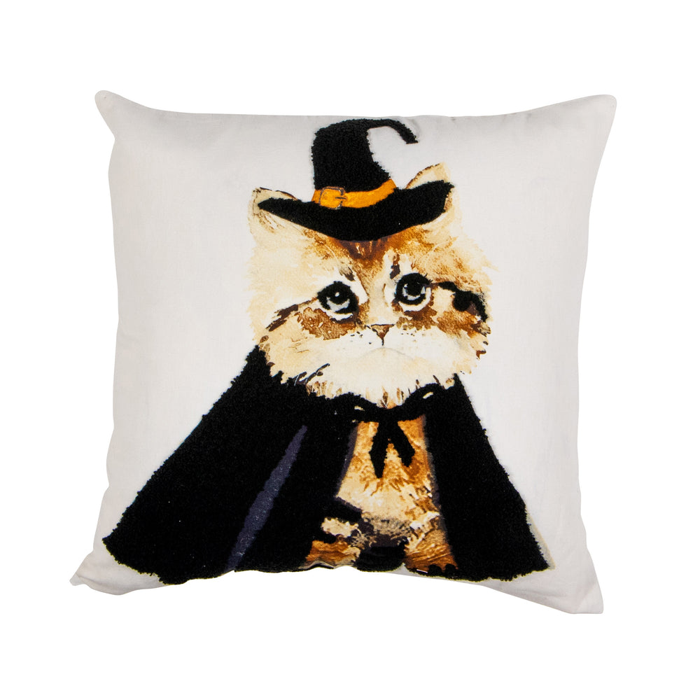 Cat with Embroidered Cape Cotton Pillow Cover