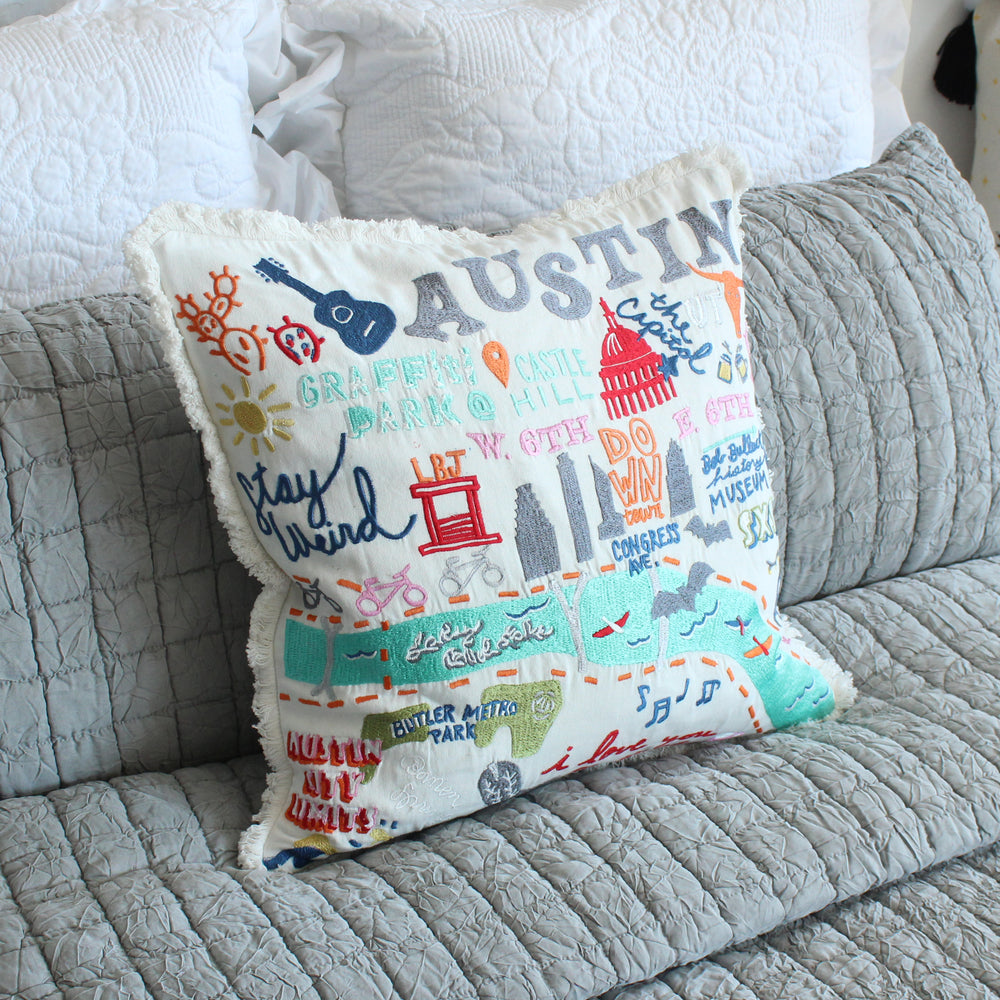 Austin City Iconic Spots Pillow Cover