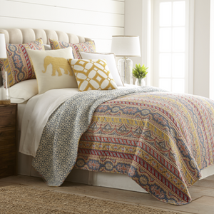 Sadie Reversible Cotton Quilt Set in Mustard Multi, Twin, Full/Queen and King