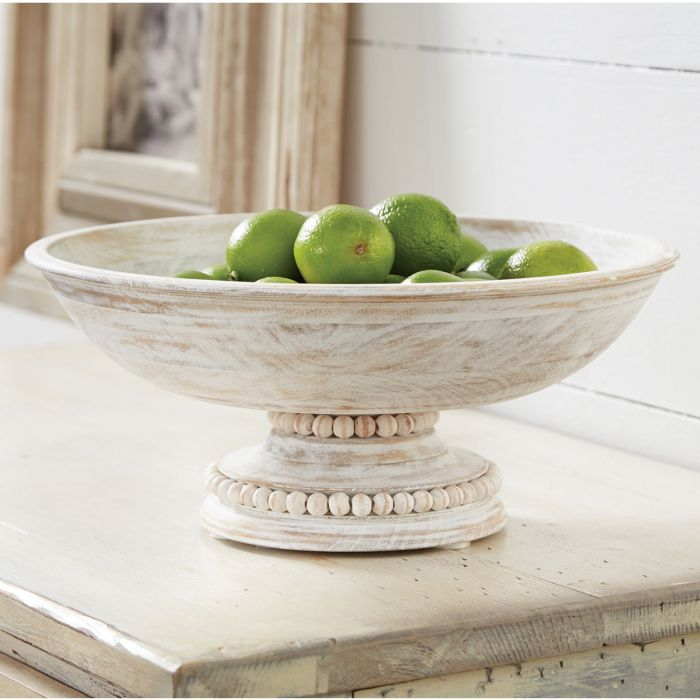 Beaded Wood Pedestal Bowl