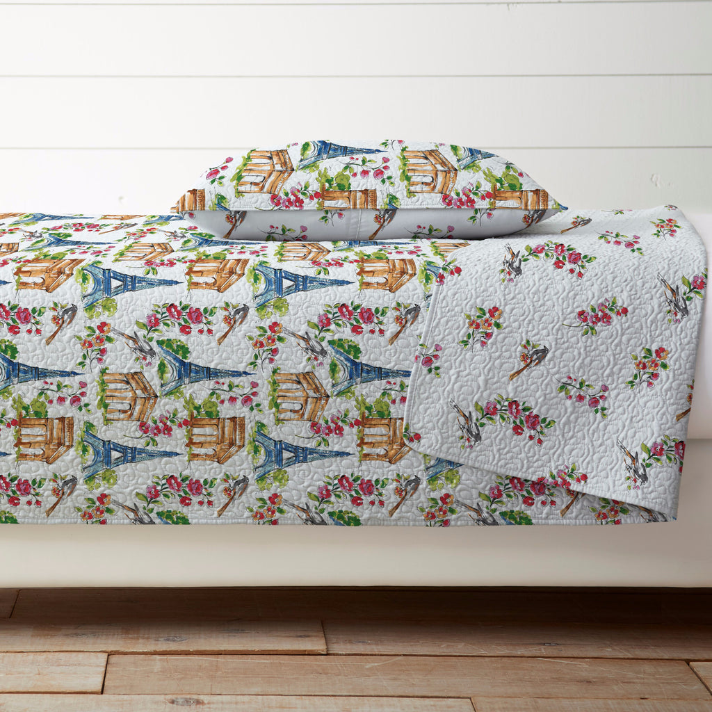 Rose Quilt Set Bright White Multi