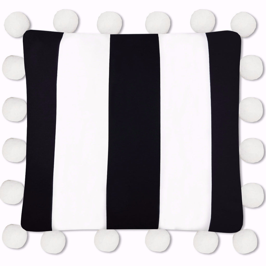 Harper Oversized Pom Pillow in Black and White Stripe, 26