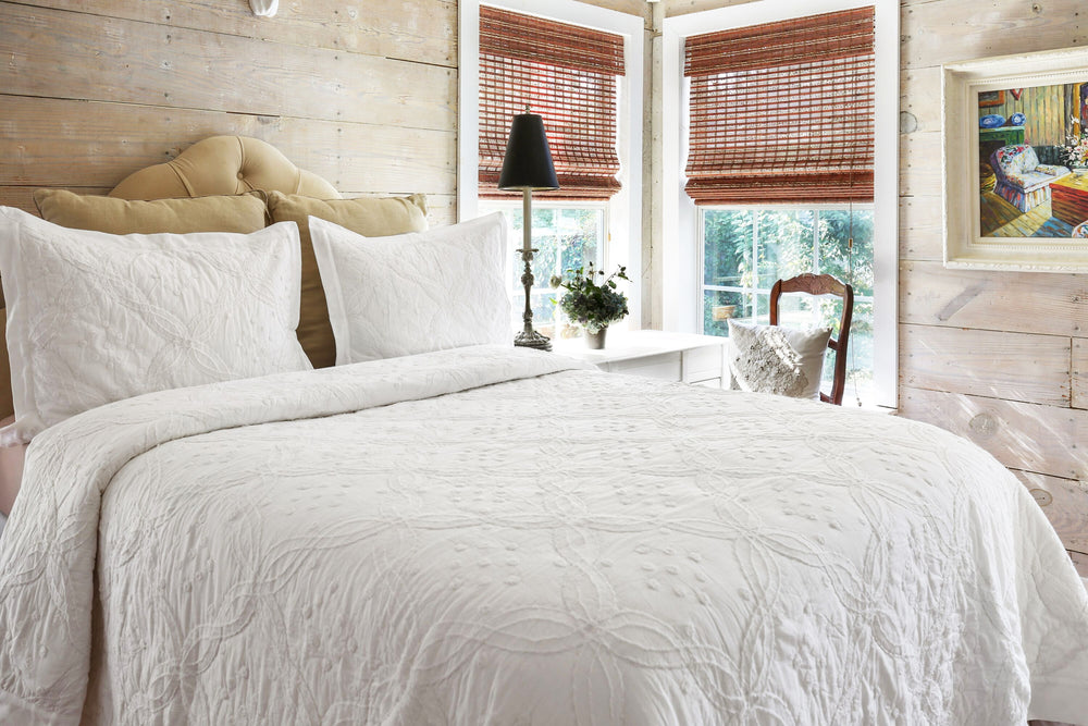Alternate view of Boucle Textured Trellis Stitch Cotton Quilt Set