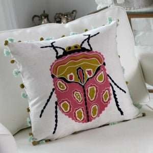 Bugs Icon Cotton Pillow Cover