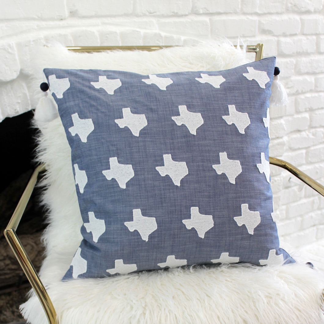 Texas Chambray Embroidered Cotton Pillow