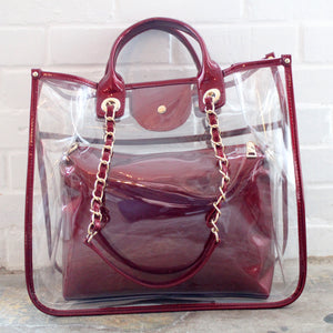 Clear Red Tote