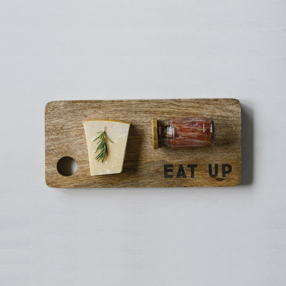 "Mango Wood Cutting Board ""Eat Up"""