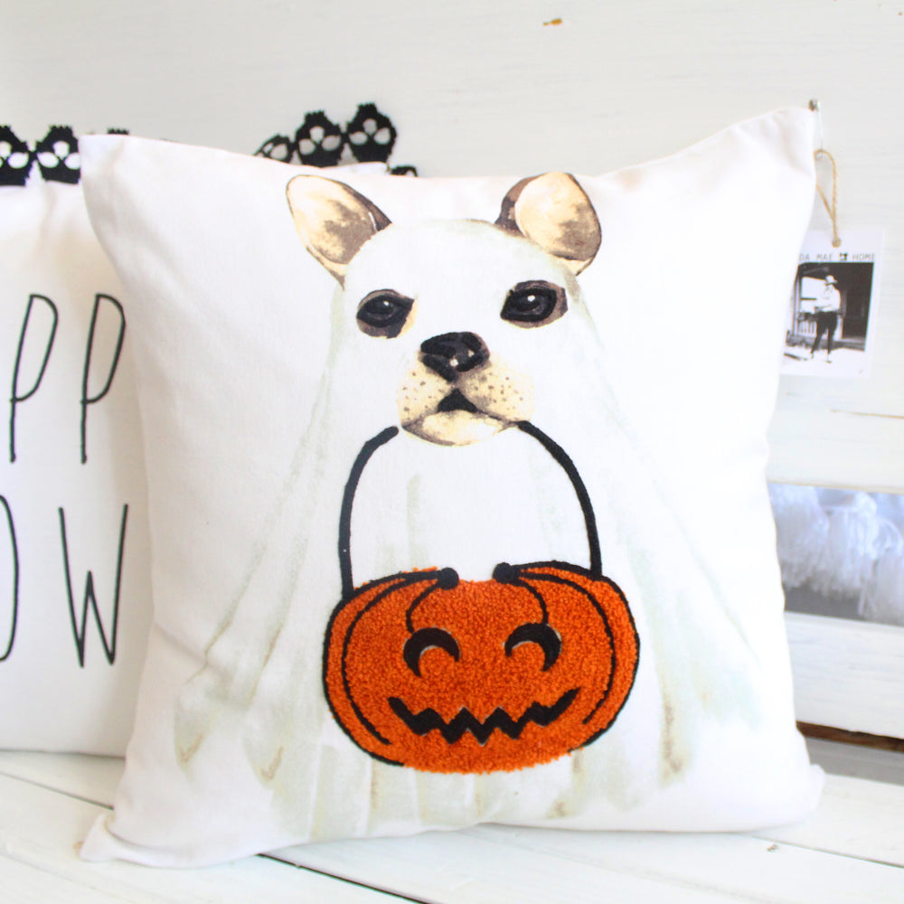 Ghost Dog Embroidered Pillow Cover
