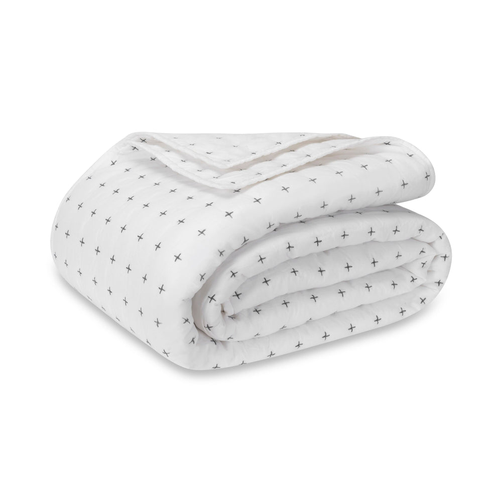 Hatch Stitch Cotton Textured Quilt Set