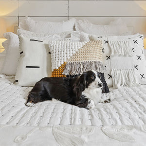 Dog resting on Hatch Stitch 100% Cotton Textured Quilt