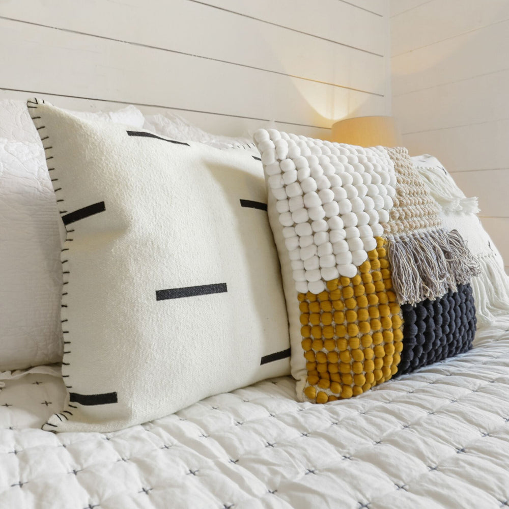 Decorative pillows on Hatch Stitch 100% Cotton Textured Quilt Set