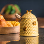 Stoneware Bee Skep Honey Jar with Wood Honey Dipper
