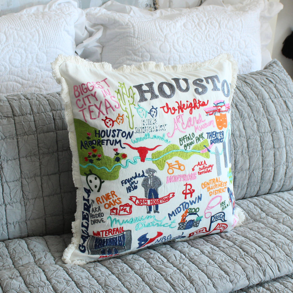 Houston City Iconic Spots Pillow Cover