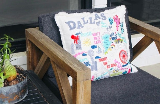 Dallas City Iconic Spots Pillow Cover