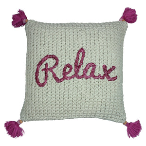 'Relax' Indoor/Outdoor Raffia Pillow Cover