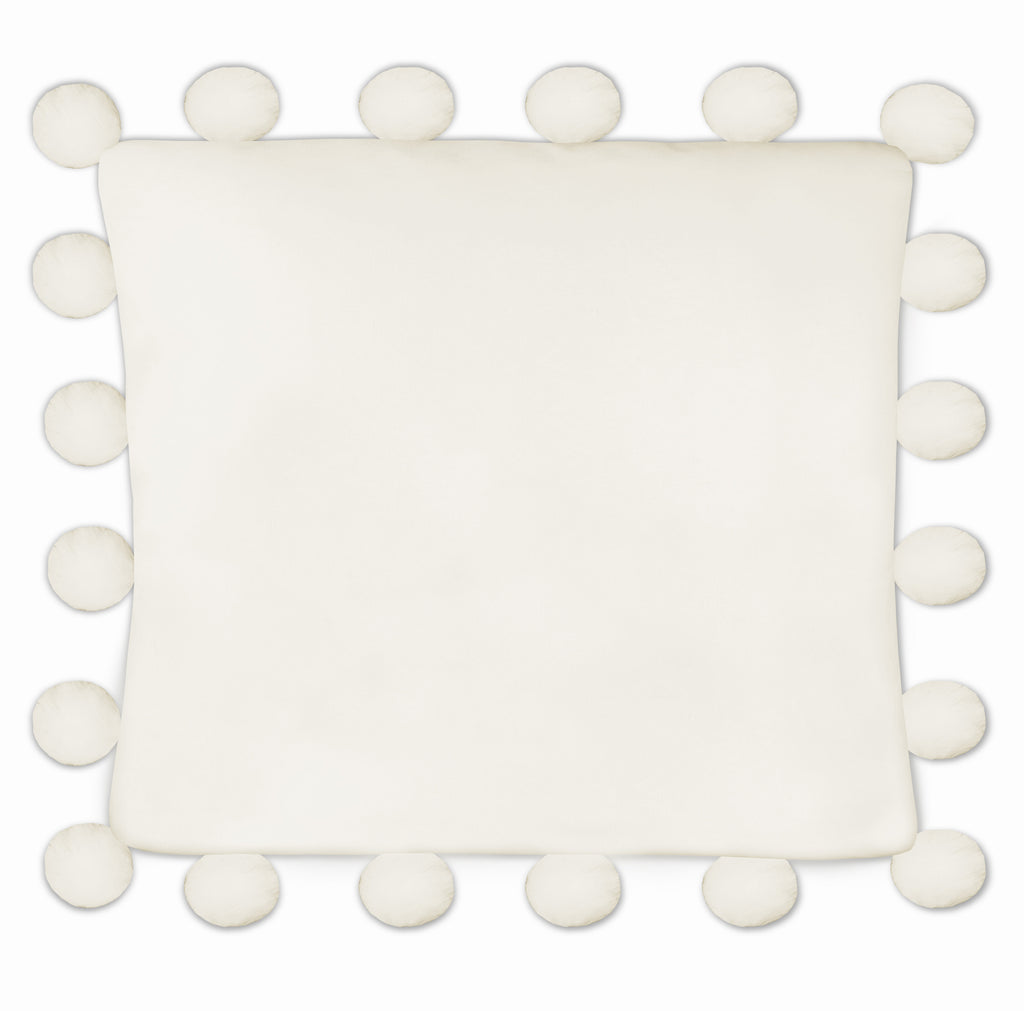 Harper Oversized Pom Pillow in Ivory, 26