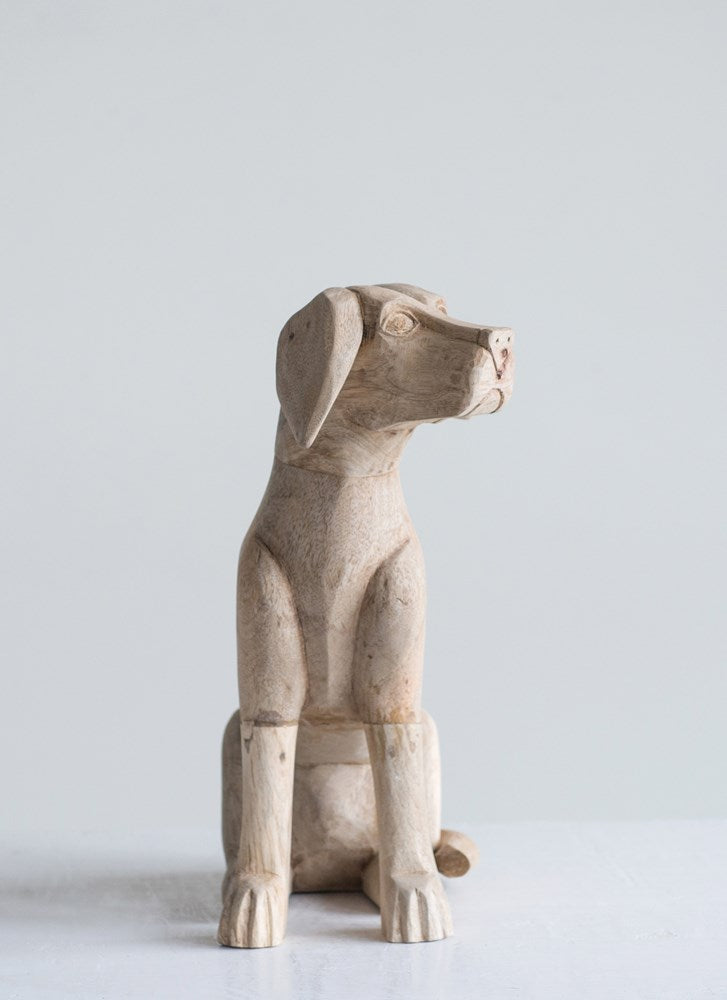 Hand-Carved Labrador Retriever Statue