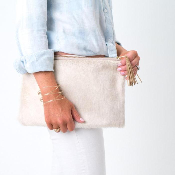 Parker and Hyde: Lauren Clutch-Cream