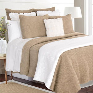 Mave Stonewash Taupe Cotton Quilt Set
