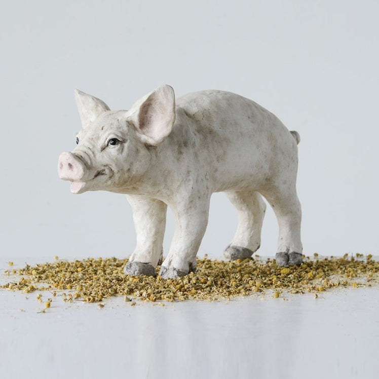 Large Decorative Resin Pig - Cream Color