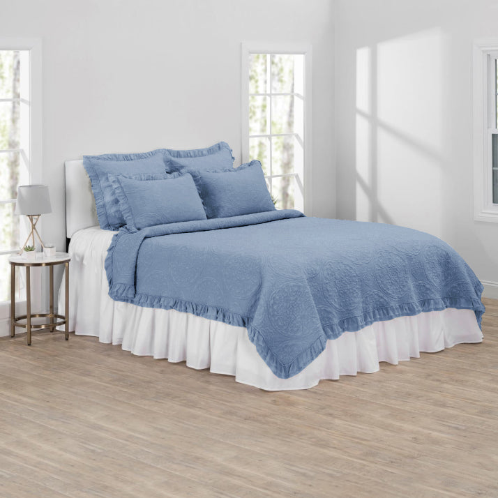 Blue Rochelle Stonewash Textured Quilt in bungalow