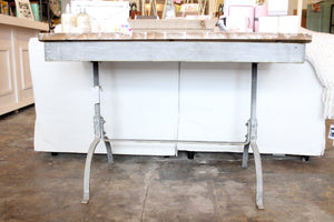 Small Metal Table with White Wash Top