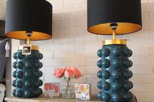Teal Glass Table Lamp with Black Shade