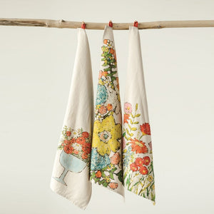 Cotton Tea Towels with Flowers, 3 Styles