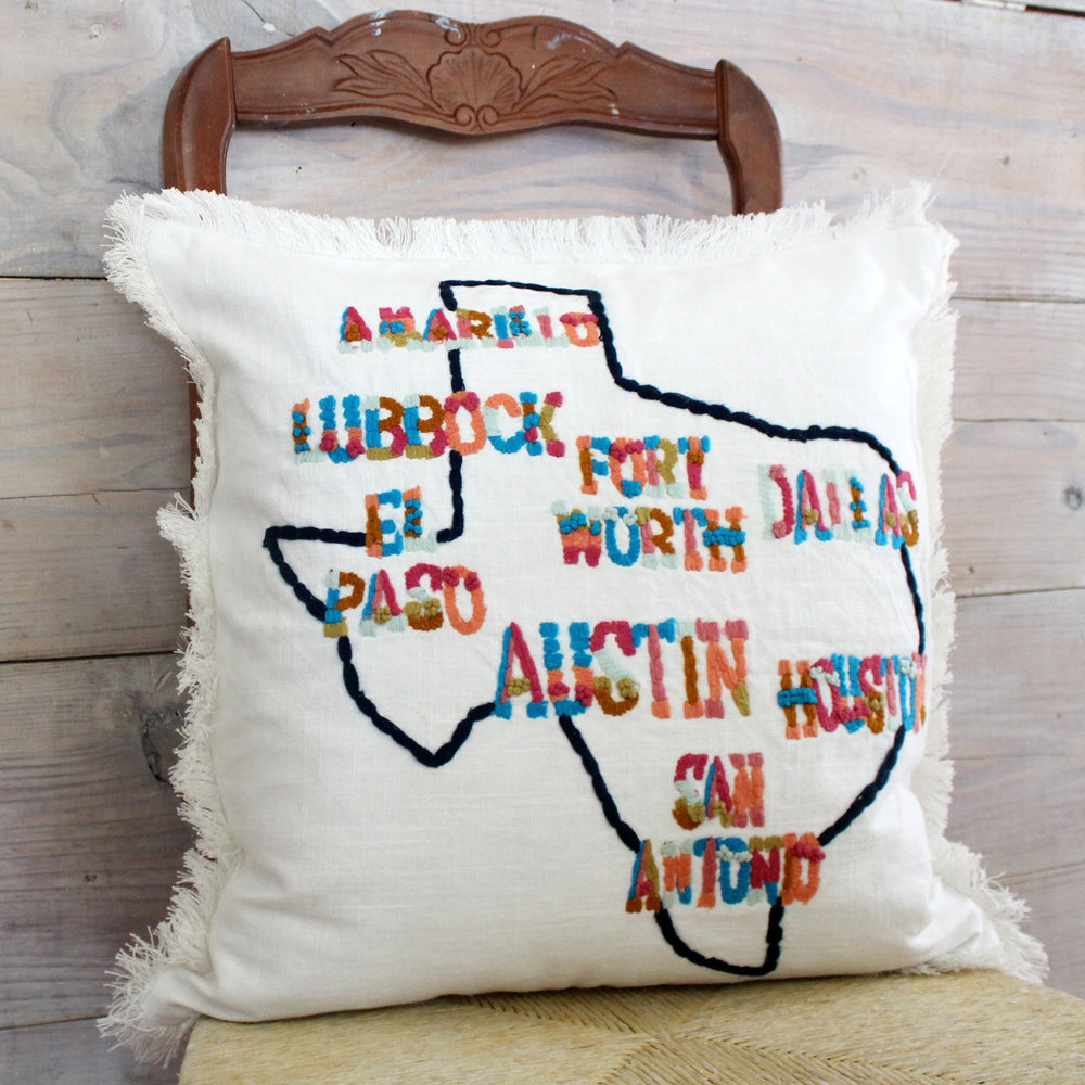 Texas Cities Pillow Cover