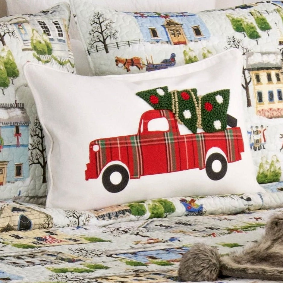 Tree Truck Christmas Pillow