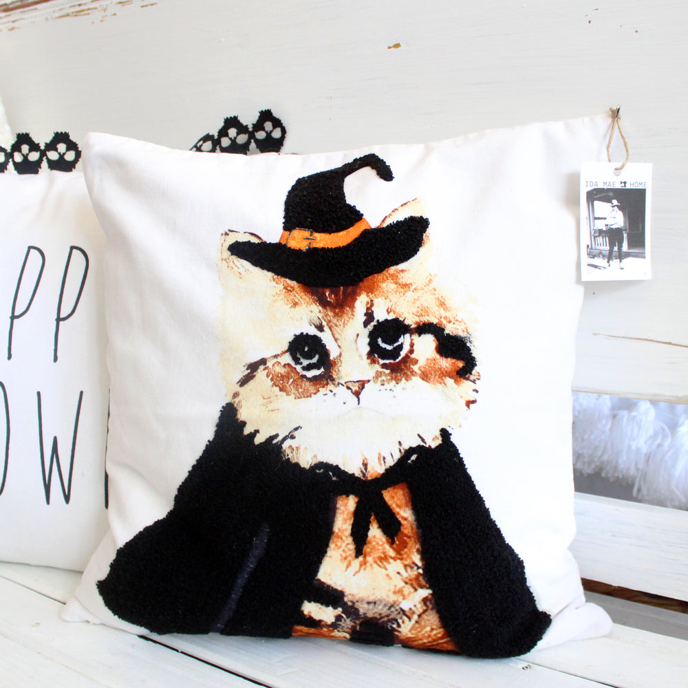 Cat with Cape Pillow Cover