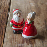 Mr. and Mrs. Santa Claus Salt and Pepper Shakers, Set of 2