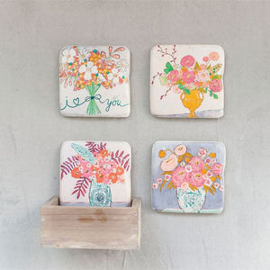 Floral Coaster Set - Set of 4