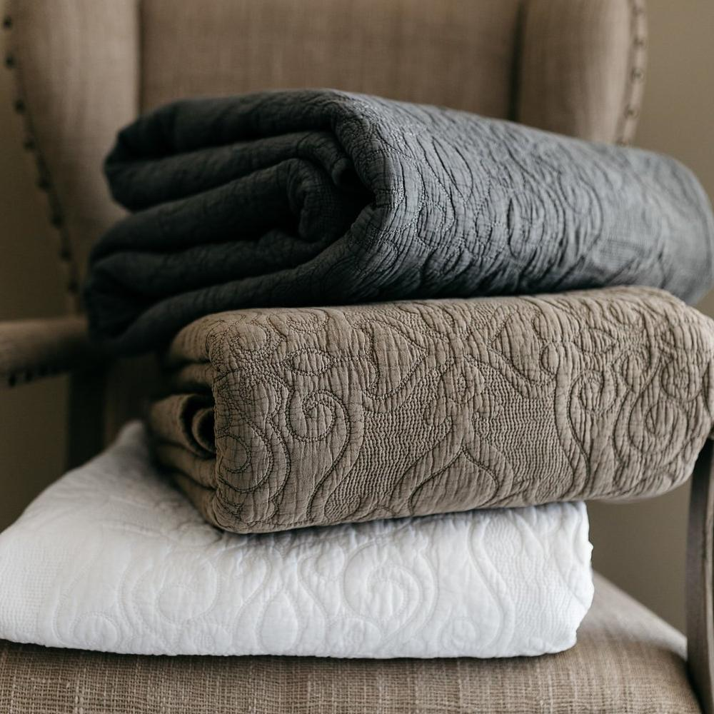 Mave Grey 3pc Quilt Set