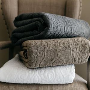 Mave Taupe 3pc Quilt Set