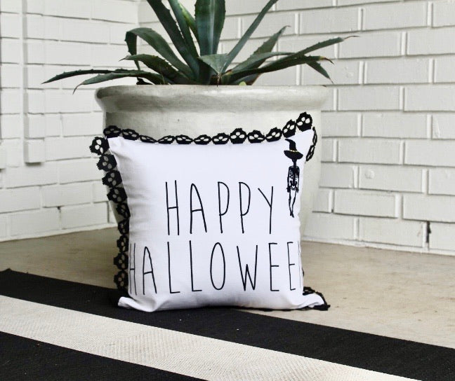 Happy Halloween Fringed Pillow Cover