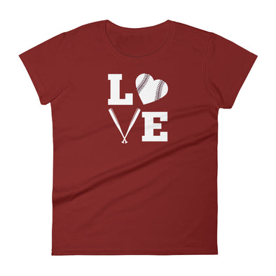LOVE Baseball with Baseball Heart Women's short sleeve t-shirt