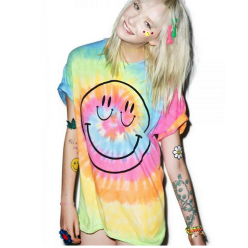 Hand Tie Dyed All Smiles T Shirt