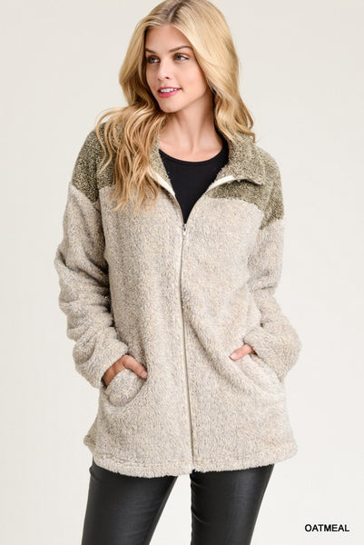 Faux Fur Sweater Jacket-Oatmeal