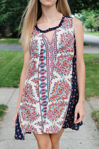 Printed Sleeveless Dress-Navy