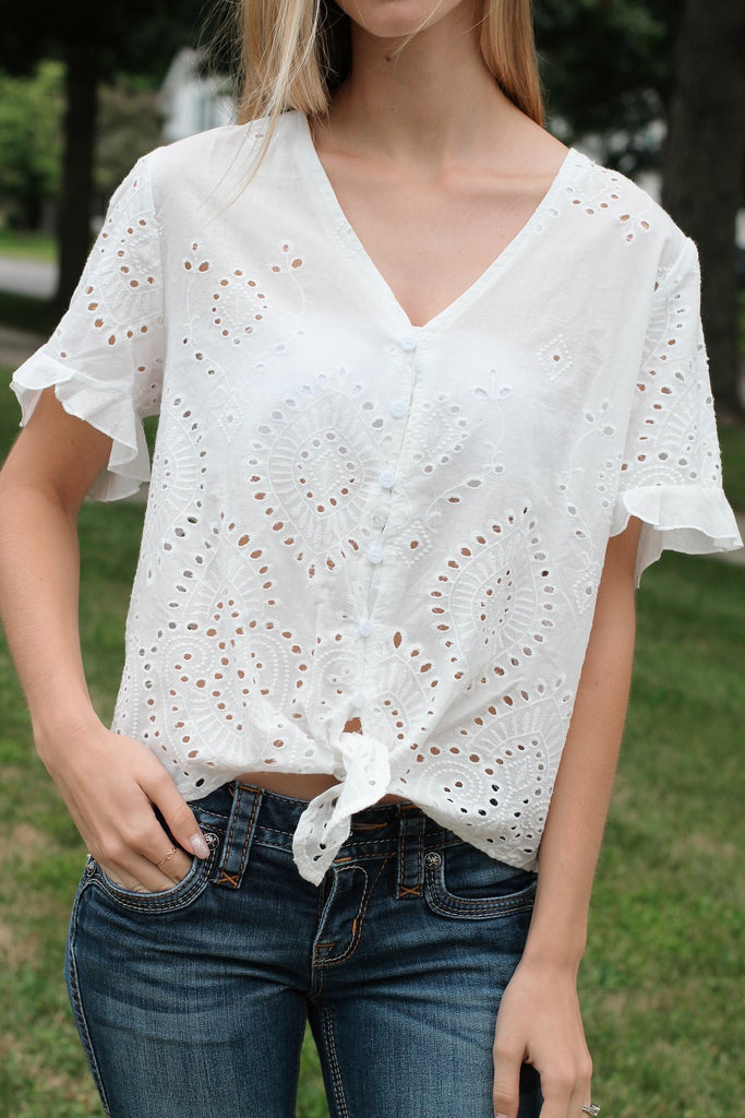 Ruffle Sleeve Button Top-White