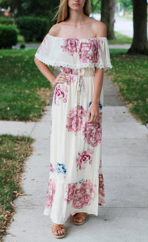 Off Shoulder Floral Maxi Dress-Cream