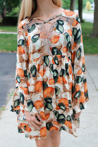 Leaf Print Dress-Multi