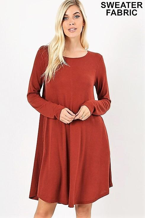 Long Sleeve Round Hem Dress-Fired Brick