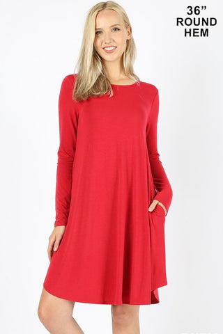 Long Sleeve Round Hem Dress-Ruby