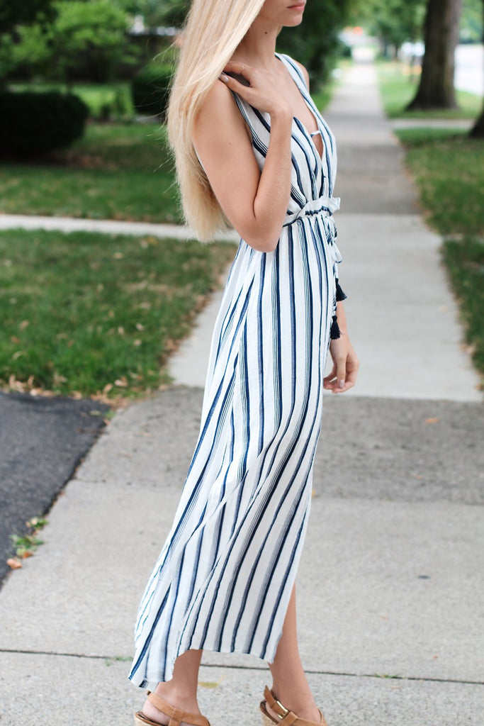 Striped Dress-Navy & White