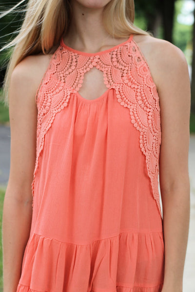 Crochet Lace Ruffle Top-Coral